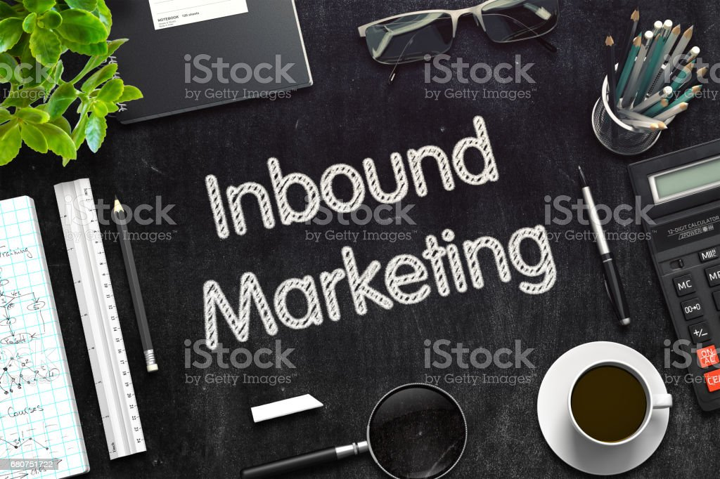 Inbound Marketing on Black Chalkboard. 3D Rendering stock photo