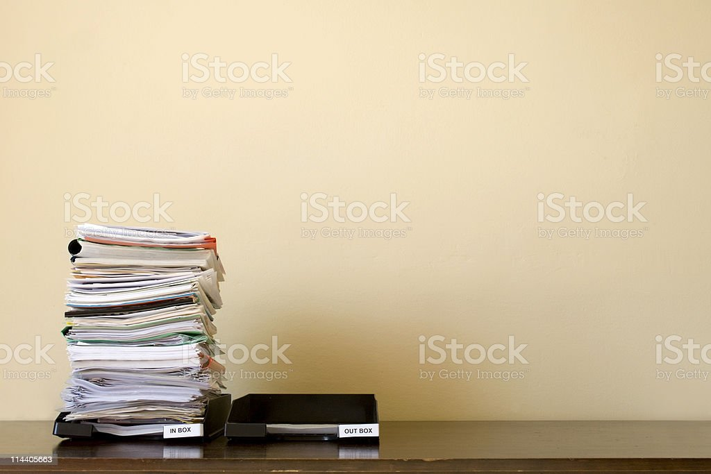 Inbox / Outbox with copy space stock photo