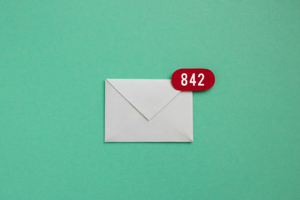 Inbox with 842 unread emails stock photo