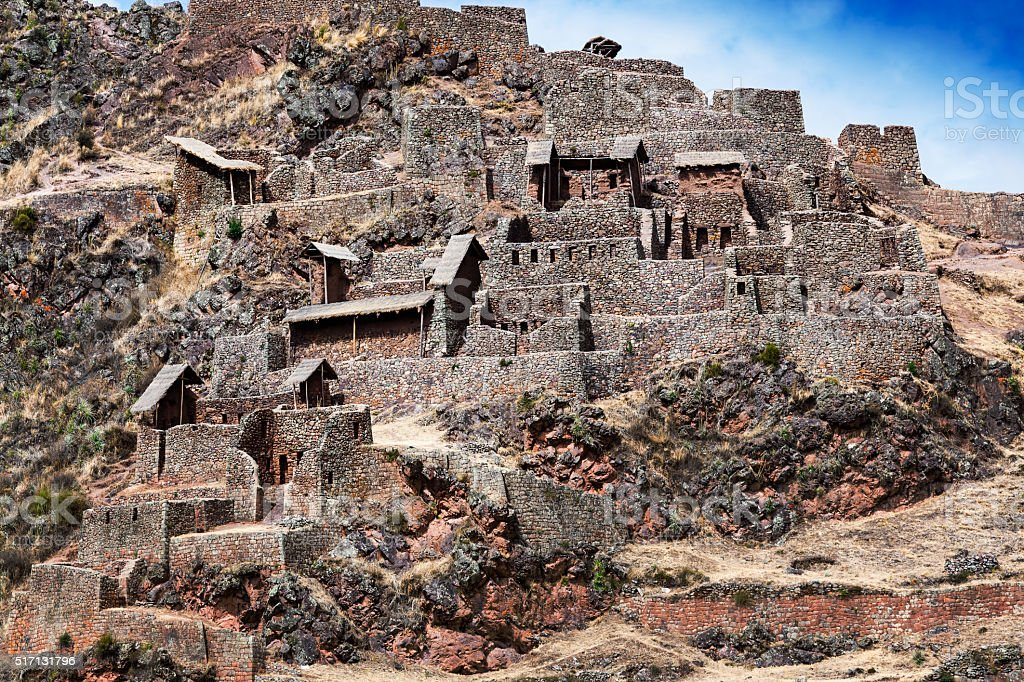 Inca ancient fortress in mountains stock photo