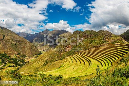 istock Inca ancient ruins at Pisac Archaeological site, Peru 1157756500