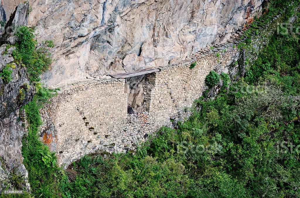 Inca bridge in Machu Picchu in Peru. stock photo