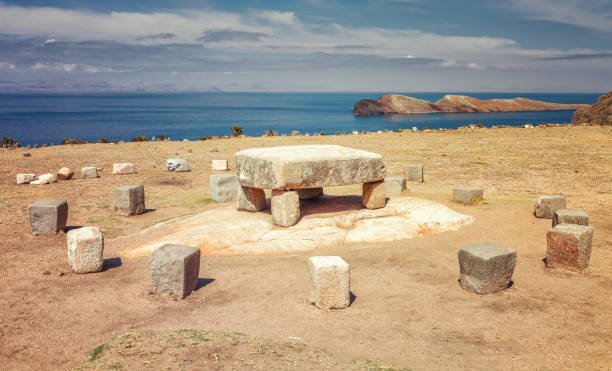 Inca ceremonial table used to be probably place of human sacrifices at Isla del Sol (Island of the Sun) in Titicaca lake, Bolivia stock photo