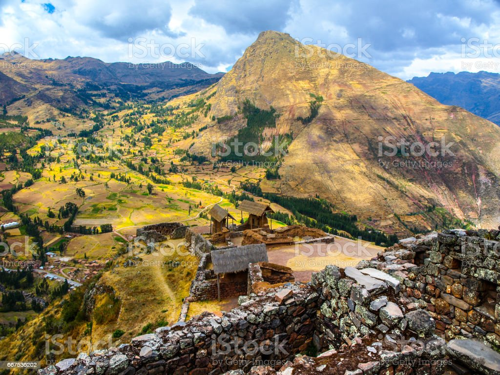 Inca fortress ruins Pisaq in Urubamba river Sacred Valley, Peru, South America stock photo