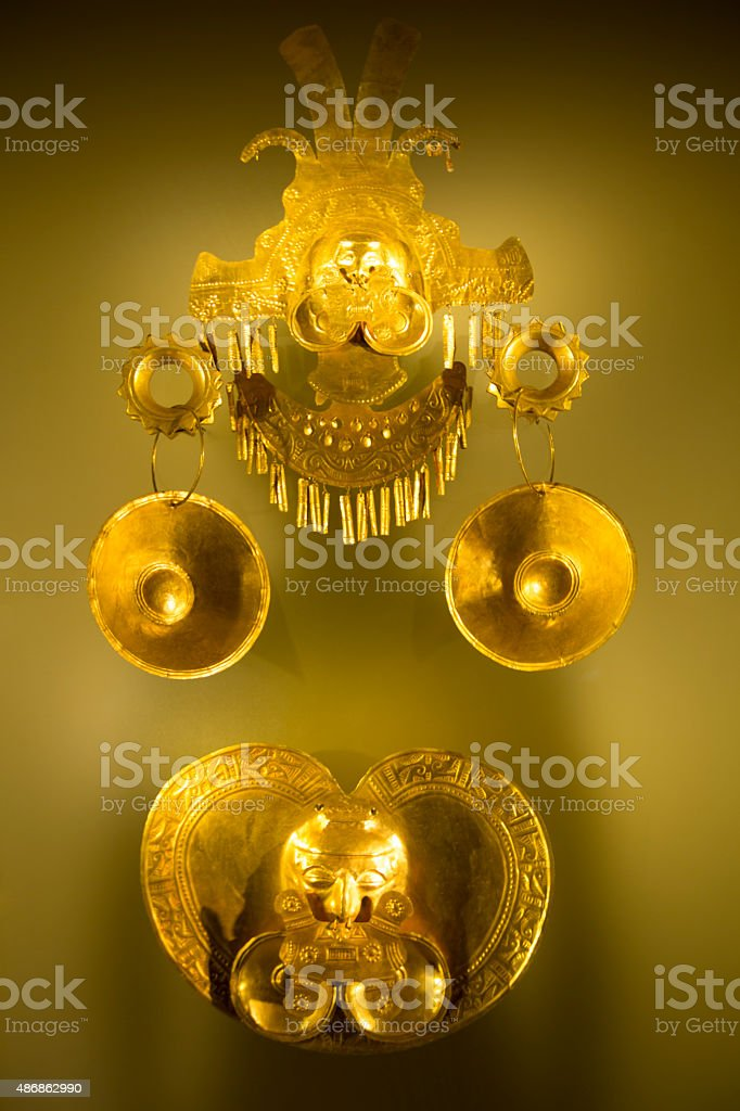Inca Funerary object of hammered gold from Colombia stock photo