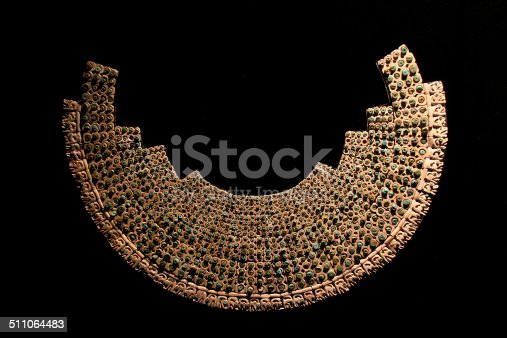 Beautiful Inca necklace in the museum of pre-columbian history.