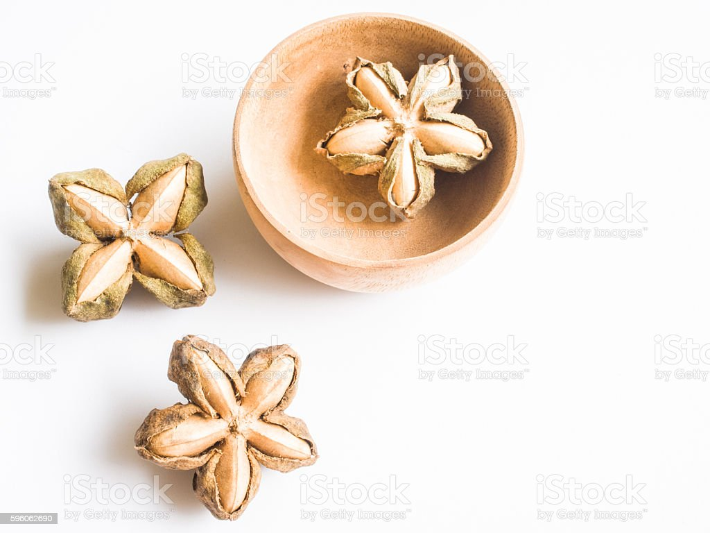 Inca nuts on white background royalty-free stock photo
