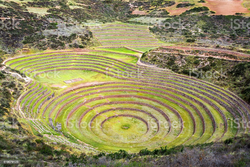 Inca Ruin of Moray stock photo