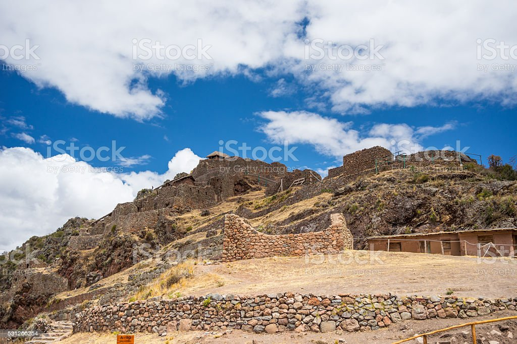 Inca ruins and buildings in Pisac, Sacred Valley, Peru stock photo