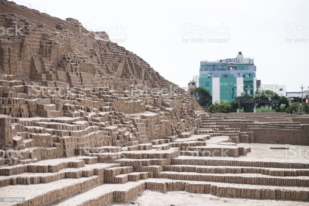 Inca Ruins and modern buildings in Lima, Peru stock photo