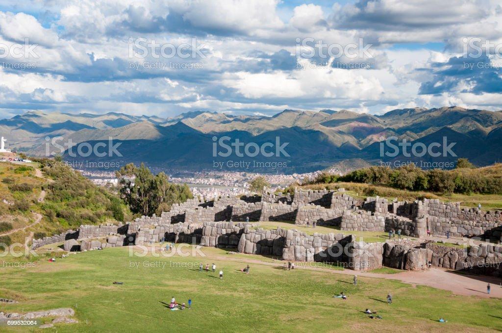 Inca Ruins Of Sacsayhuaman In Cusco, Peru stock photo