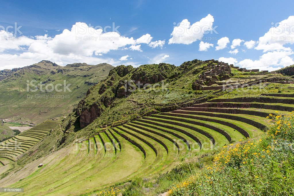Inca settlement, Pisac, Peru stock photo
