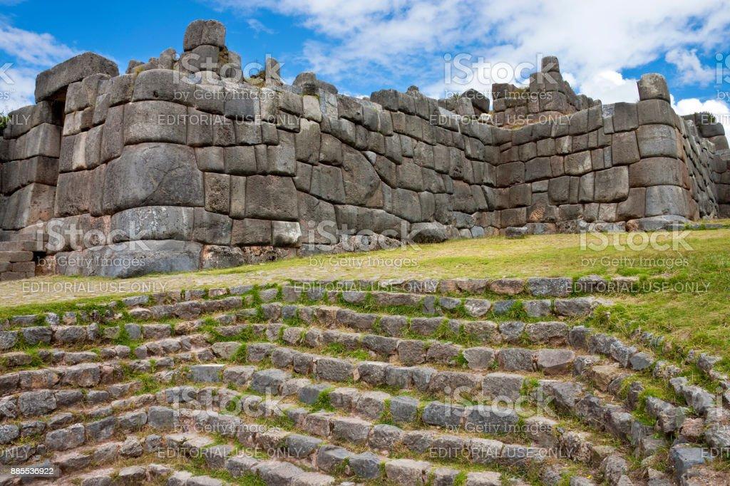 Inca stonework - Sacsayhuaman - Cuzco - Peru stock photo