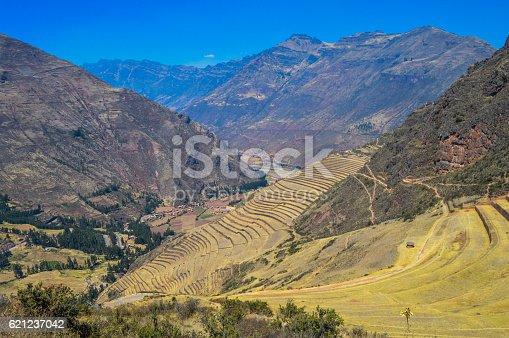 istock Inca terraces in the Sacred Valley - Pisac, Peru 621237042