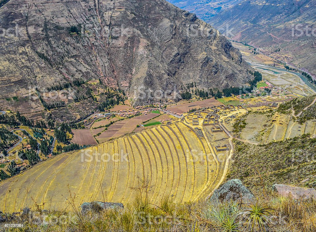 Inca terraces in the Sacred Valley - Pisac, Peru stock photo