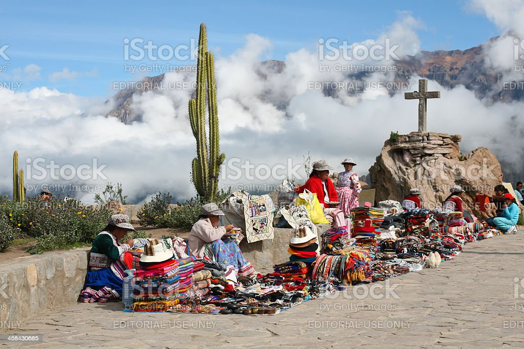 Inca Women Selling Souvenirs in Canyon Del Colca, Peru royalty-free stock photo