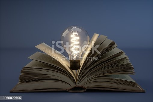 Incandescent Bulb With Books.