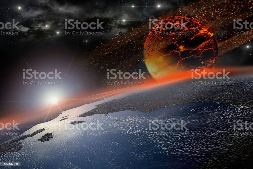 Incandescent celestial body hitting Earth stock photo