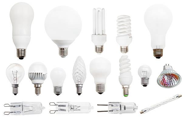 normalbeleuchtung, kompakte fluoreszierend und halogen-lampen - glühbirne e27 stock-fotos und bilder