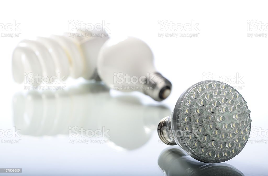 CFL, Incandescent, LED Lights on White royalty-free stock photo
