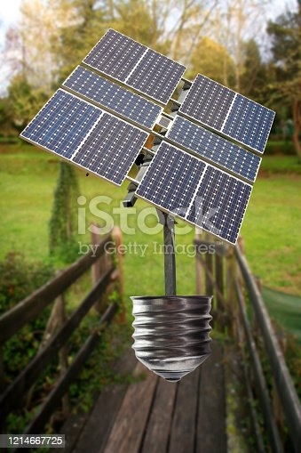 Incandescent light bulb with a Solar Panel in Nature