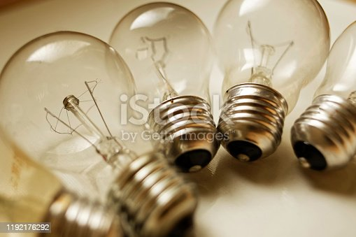 Incandescent light bulbs in a group
