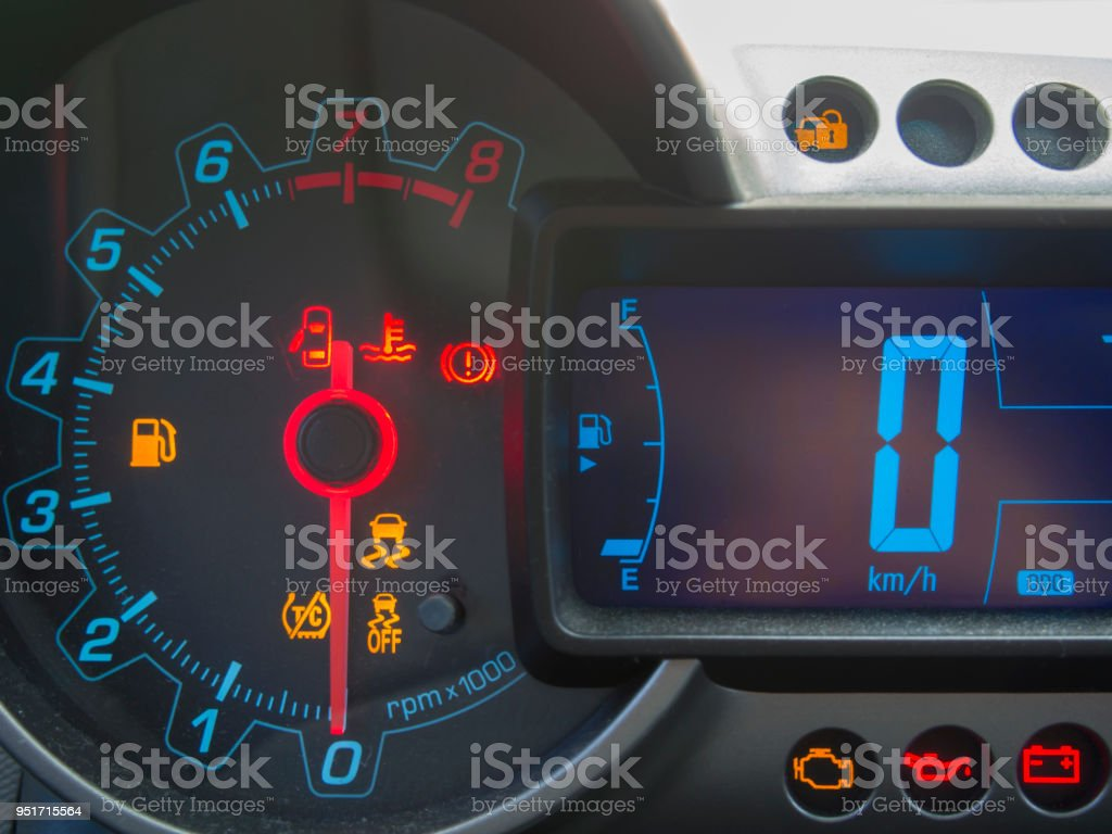in-car displays and fault lamps stock photo