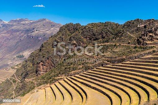 istock Inca's terraces in Pisac, Sacred Valley, Peru 996904186