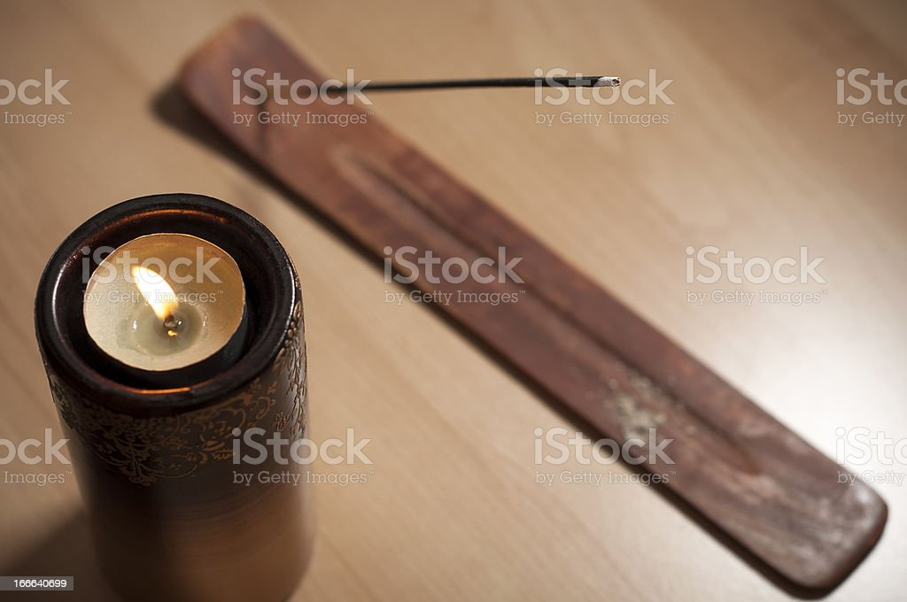 Incense and candle stock photo