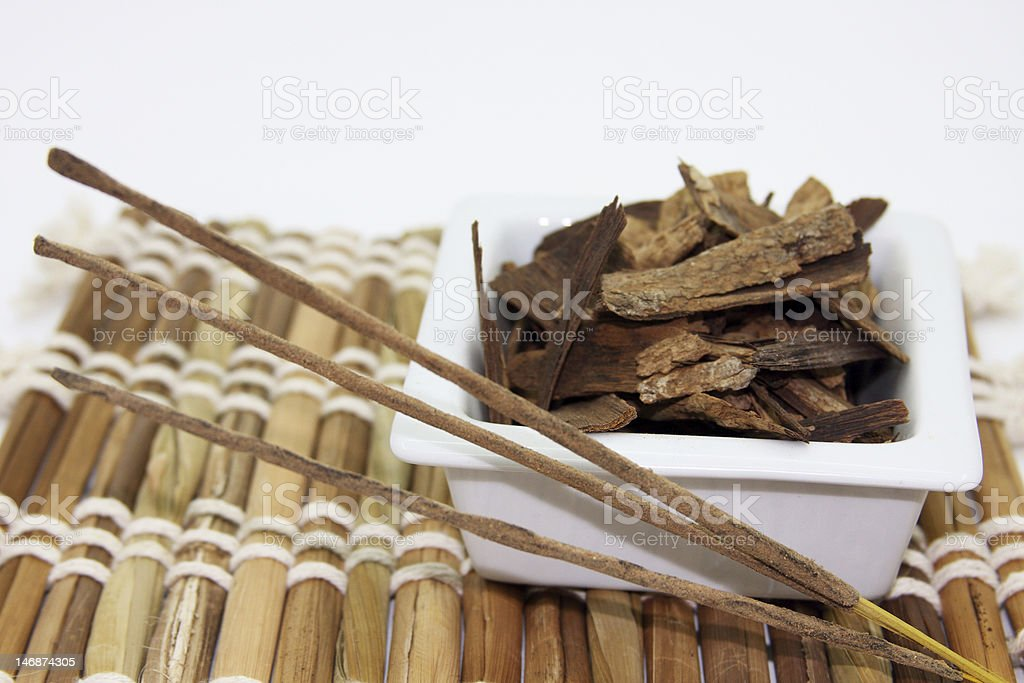 Incense and sandalwood stock photo