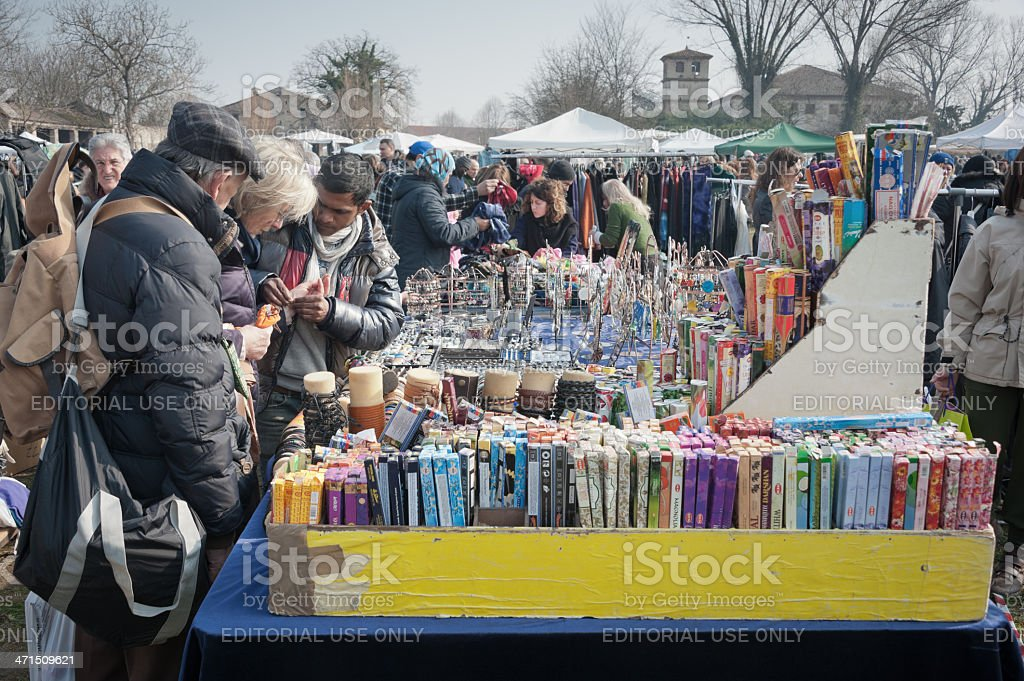 Incense and trinkets stall stock photo