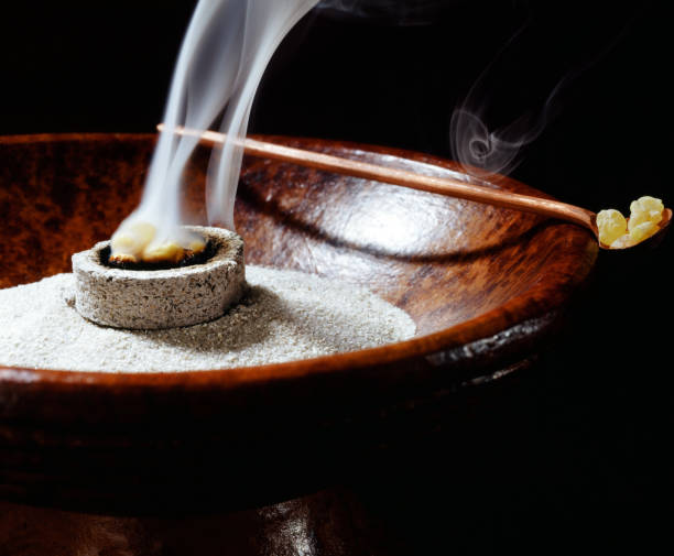 incense bowl incense bowl and burning incense incense stock pictures, royalty-free photos & images