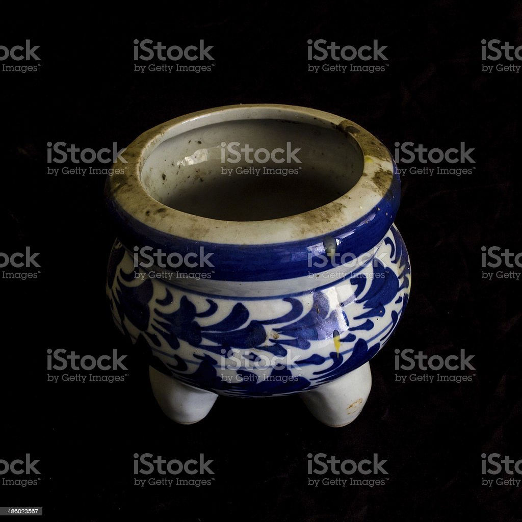 incense burner Ceramic isolated on black stock photo