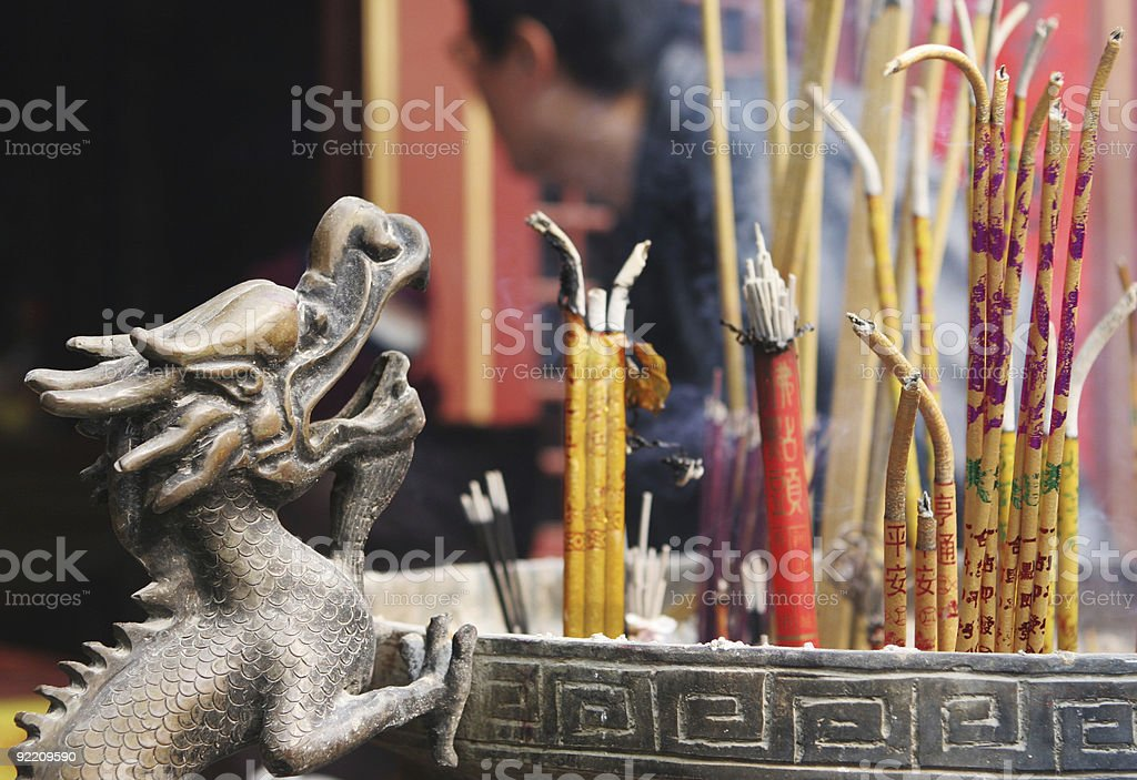 Incense burning at a temple. royalty-free stock photo