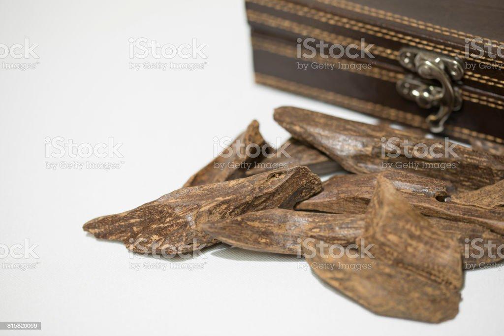 Puce de l'encens: Oud, avec boîte en cuir sur son côté - Photo