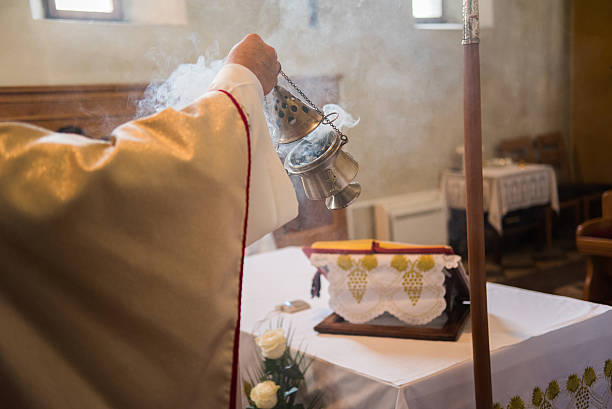 Incense during Mass stock photo
