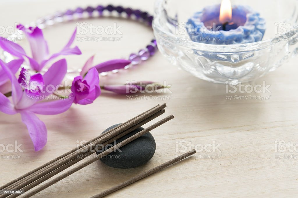 incense for buddhism pray stock photo