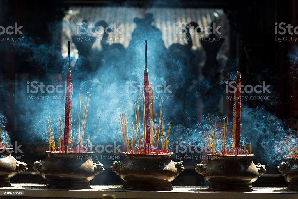incense in Chua Ba Thien Hau Temple, Saigon, Vietnam stock photo