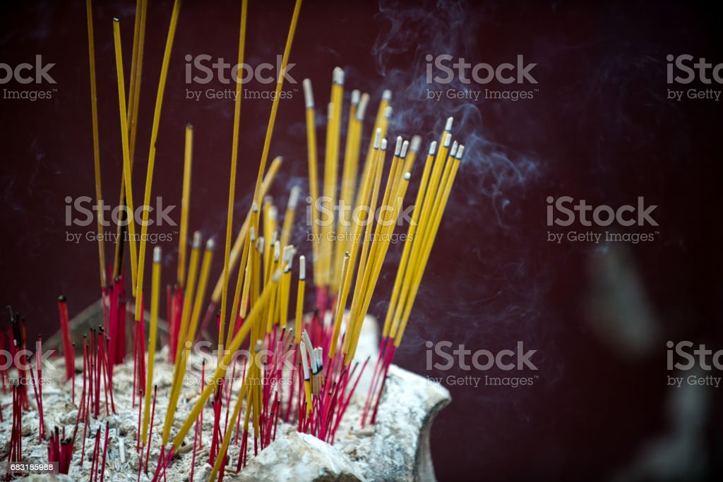 Incense in the temple, religious symbols in Buddhism and Hinduism 免版稅 stock photo