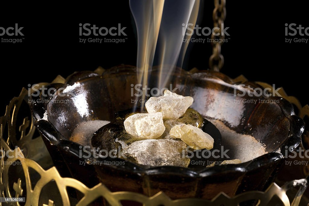 Incense on charcoal stock photo