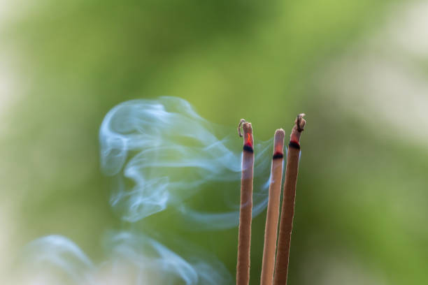 Incense stick and smoke from incense burning. Beautiful smoke. Blurred background and design with copy space. Incense stick and smoke from incense burning. Beautiful smoke. Blurred background and design with copy space. incense stock pictures, royalty-free photos & images