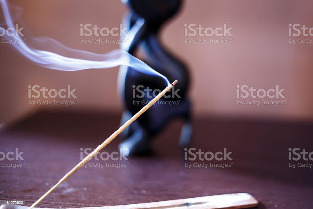 Incense stick with smoke stock photo