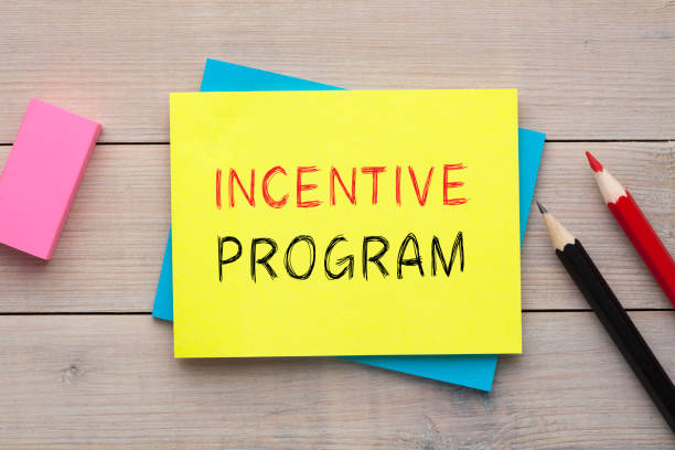 Incentive Program Concept Incentive Program written on the note with  colorful pencils and eraser aside on wooden desk. Top view perks stock pictures, royalty-free photos & images
