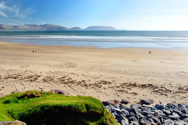 Inch beach, wonderful 5km long stretch of sand and dunes, popular for surfing, swimming and fishing, located on the Dingle Peninsula, County Kerry, Ireland. stock photo