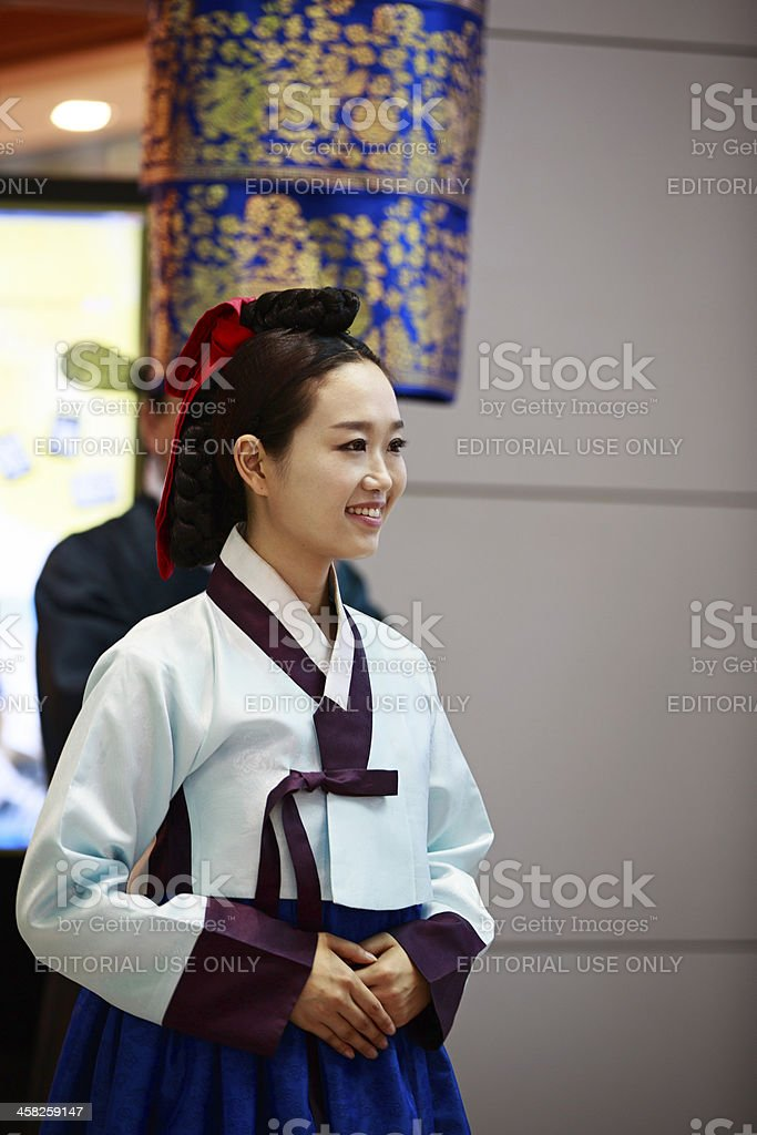 Incheon Airport Korean Woman stock photo