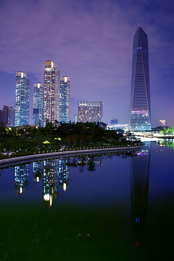 Incheon city at night in South Korea
