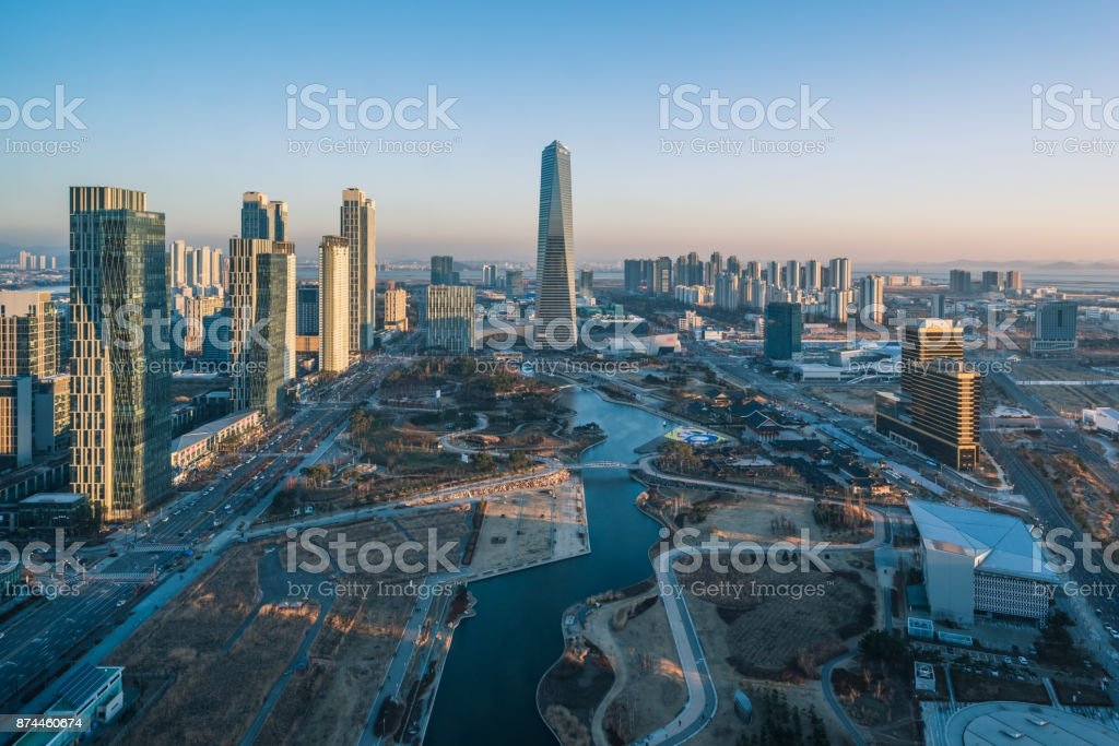 Incheon, Central Park en Songdo International Business District, Corea del sur. - foto de stock