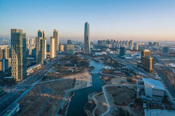 Incheon, Central Park en Songdo International Business District, Corea del sur. - foto de stock