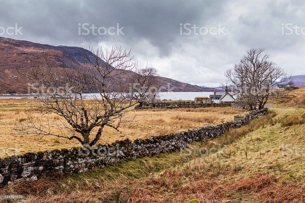 Inchnadamph (Scotland). Old parish church and cemetery on Loch Assynt. stock photo
