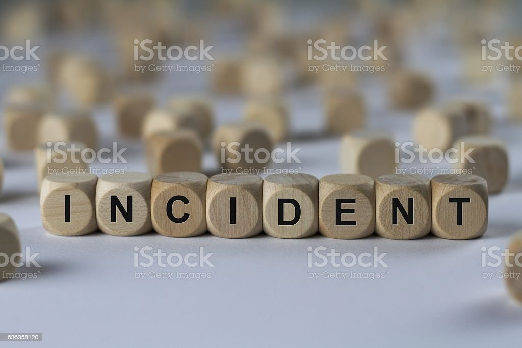 incident - cube with letters, sign with wooden cubes stock photo